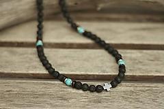Šperky - Pánsky náhrdelník z minerálov láva, tyrkenit, sandalové drevo - 10529684_