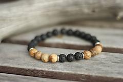 Šperky - Pánsky náramok láva, jaspis - 10532232_
