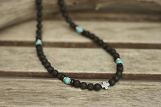 Šperky - Pánsky náhrdelník z minerálov láva, tyrkenit - 10529684_