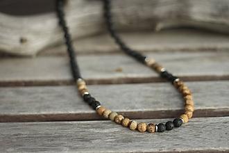 Šperky - Pánsky náhrdelník z minerálov láva, jaspis - 10532212_