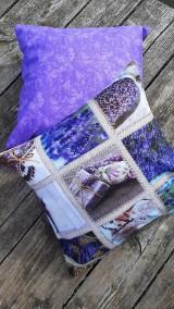 Úžitkový textil - Obliečky s levandulovým motívom (40*40 cm) - 10535159_