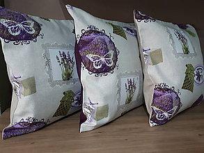 Úžitkový textil - Obliečky s levandulovým motívom (45×45 cm) - 10535161_