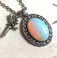 Náhrdelníky - Elegant Opalite & Fairy Necklace / Náhrdelník 2 v 1 opalit a víla #2046 - 10534507_