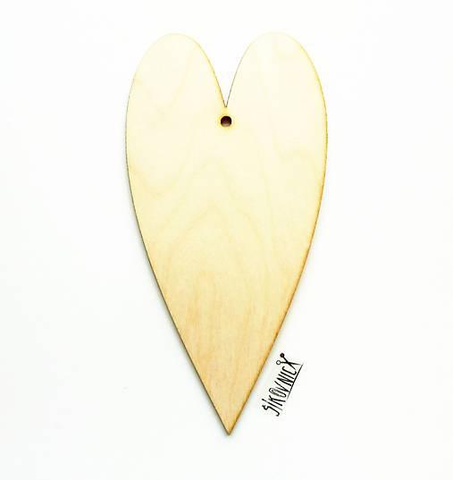 Výrez z preglejky - srdce, 20x10 cm