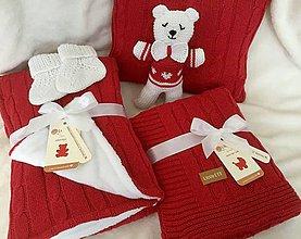 Textil - Set pre bábätko-teplá deka, tenká deka, vankúšik, macík a capačky - červená - 10535390_