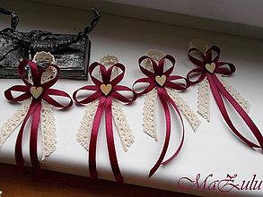 Pierka - Vintage bordo svadobné pierko II. - 10533302_