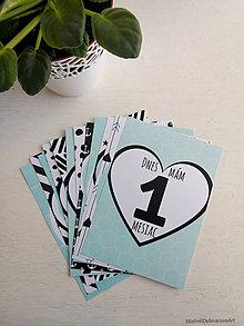"""Detské doplnky - Míľnikové kartičky """"Chic mint"""" - 10535491_"""