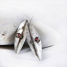 Náušnice - Stříbrné náušnice Leaf - 10532872_