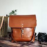 Batohy - Kožený batoh Lara (koňakový-tmavý) - 10534156_