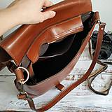 Batohy - Kožený batoh Lara (koňakový-tmavý) - 10534157_