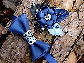 Iné doplnky - sada doplnkov - sponka + motýlik - tmavá modrá - 10535687_