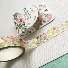 Papier - dekoračná papierová páska Ružové kvety - 10535344_