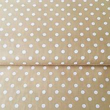 Textil - béžové bodky, 100 % bavlna, šírka 140 cm - 10535334_