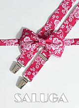 Pánsky motýlik a traky - cyklamenový - ružový - kvetinový