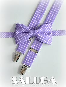 Doplnky - Pánsky motýlik a traky - fialový - bodkovaný - 10536368_
