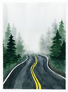 Obrazy - Originál akvarel Do hmly - 10535682_