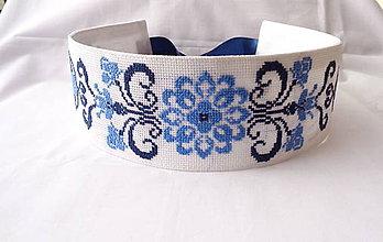 Opasky - Folklórny vyšívaný opasok modrica - 10536031_