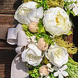 Dekorácie - Jarný veniec s bielou pivonkou - 10534844_