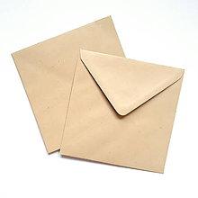 Papier - Obálka hnedá recyklovaná s jemnou prúžkovou textúrou 150 x 150 mm - 10534941_