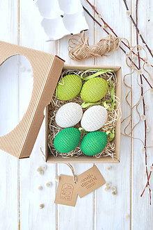 Dekorácie - sada háčkovaných vajíčok, smotanové a zelenkavé - 10533129_