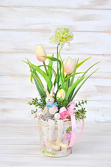 Dekorácie - zajko vo vedierku - 10533206_