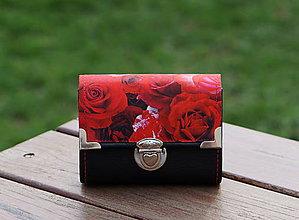 Peňaženky - Peněženka Růže Černá, 8 karet, 2 kapsy, na fotky - 10534456_