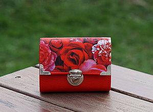 Peňaženky - Peněženka Růže Červená, 8 karet, 2 kapsy, na fotky - 10534483_