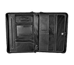 Tašky - Kožená spisovka s bohatou výbavou v čiernej farbe - 10536004_