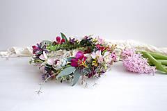Ozdoby do vlasov - Kvetinový venček ,,eukalyptus farebný,, - 10534668_