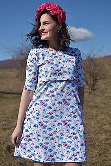 Tehotenské oblečenie - Šaty na dojčenie s A-čkovou sukňou - nevädza poľná - 10534041_