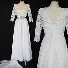 Šaty - Svadobné šaty z hrubej krajky s kruhovou šifónovou sukňou - 10534086_