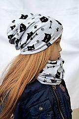 Detské súpravy - Celoročná čiapka tenká + nákrčník Cats and fish  (Len samotná čiapka) - 10533180_