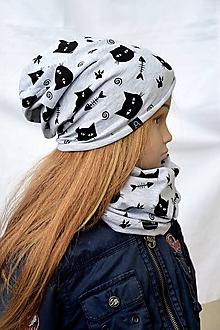 Detské súpravy - Celoročná čiapka tenká + nákrčník Cats and fish - 10533180_