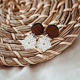 Náušnice - Náušničky - čipkované kvety (S) - 10534173_