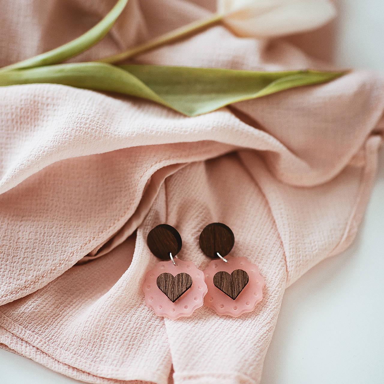 Náušničky - ružové srdiečka