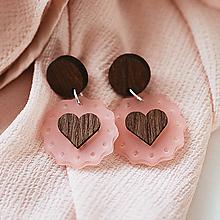 Náušnice - Náušničky - ružové srdiečka - 10534068_