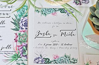 Papiernictvo - Prírodné svadobné oznámenie SUCCULENT - 10536314_