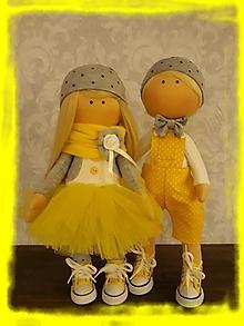 Bábiky - Žltý párik zaľúbencov - 10534586_