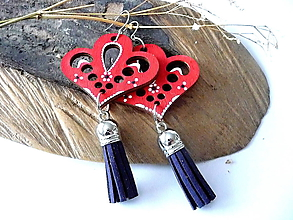 Náušnice - červené folk náušnice so strapcami - 10533990_