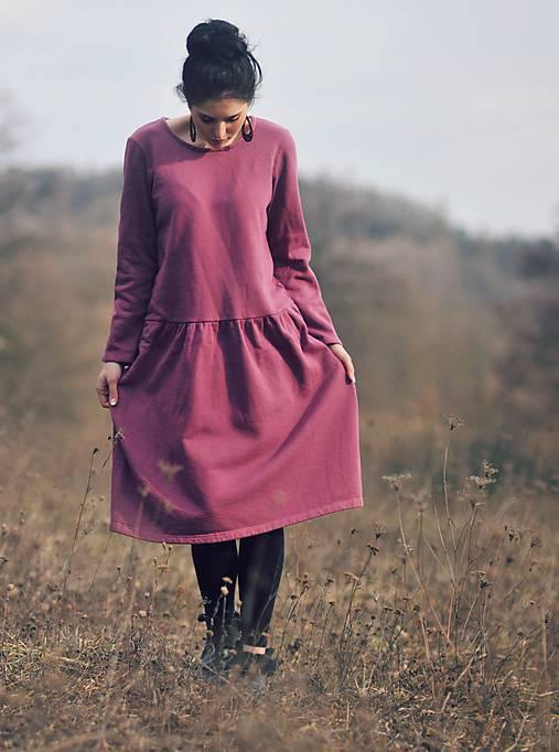 Bavlněné šaty růžovofialové