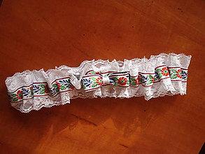 Bielizeň/Plavky - Č.19 Folklórny svadobný podväzok 6cm s folk mašlou - 10536094_