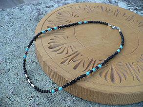 Náhrdelníky - pánsky náhrdelník onyx,tyrkys, býčie oko, hematit - 10535961_