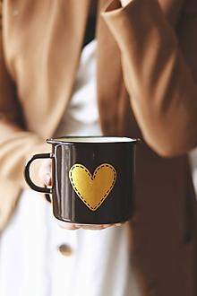 Nádoby - Smaltovaný hrnček - Zlaté srdco II. - 10535489_
