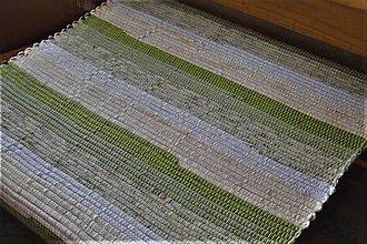 Úžitkový textil - Tkaný koberec zeleno-krémovo-biely - 10534706_