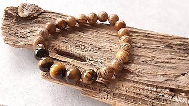 Šperky - Pánsky náramok jaspis a tigrie oko - 10538902_