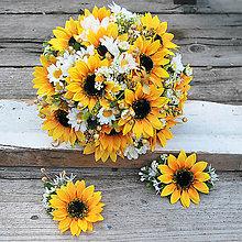 Kytice pre nevestu - Svadobná sada slnečnice s margarétkami- objednávka - 10538936_