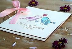 Papiernictvo - Svadobná kniha hostí, drevený fotoalbum - vtáčiky - 10537181_