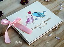 Papiernictvo - Svadobná kniha hostí, drevený fotoalbum - vtáčiky - 10537182_
