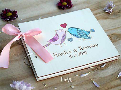 Svadobná kniha hostí, drevený fotoalbum - vtáčiky