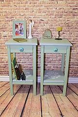 Nábytok - 2 Stolíky so šuflíkom /cena za sadu 2 ks/ - vidiecke - IMELO - 10539499_